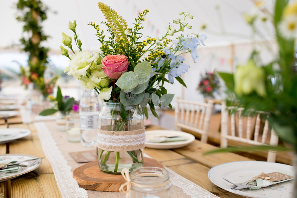 Hessian Burlap Table Runner Lace Jam Jar Flowers Floral Meon Bye Farm Wedding Jessica Hayman Photography