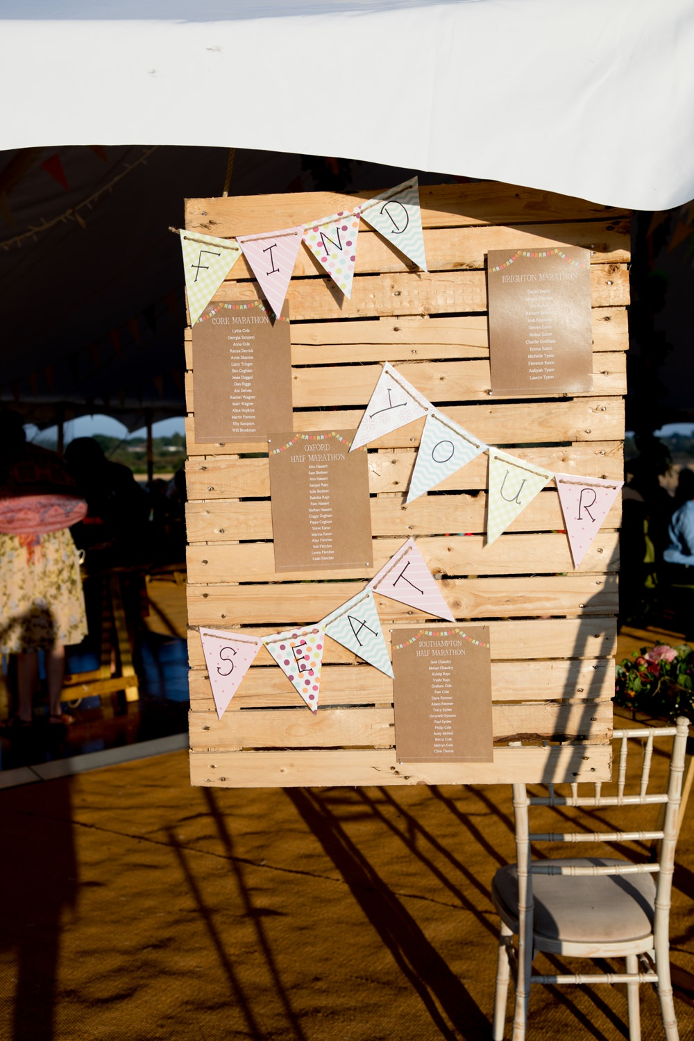 Table Plan Seating Chart Pallet Bunting Meon Bye Farm Wedding Jessica Hayman Photography
