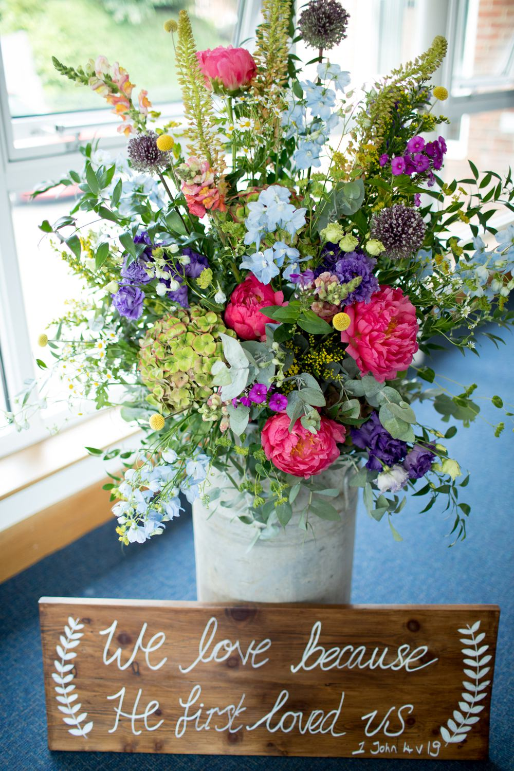 Milk Churn Flowers Floral Peony Meadow Wildflower Wooden Sign Meon Bye Farm Wedding Jessica Hayman Photography