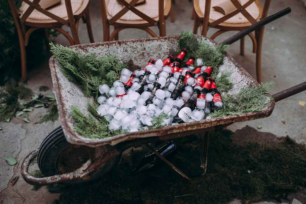 Beer Drinks Wheelbarrow Mountain Wedding Spain Lorena Erre