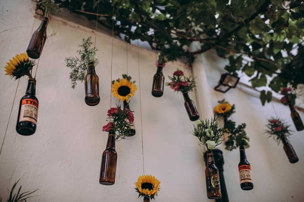 Hanging Decor Flowers Beer Bottles Mountain Wedding Spain Lorena Erre
