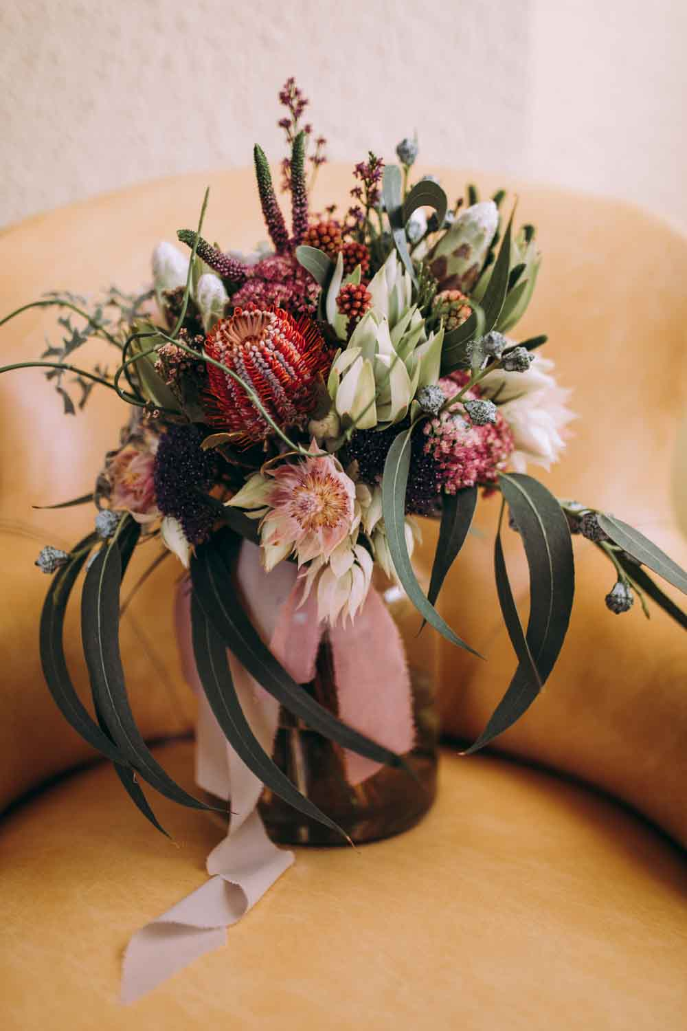 Bouquet Flowers Bride Bridal Foliage Greenery Protea Ribbons Mountain Wedding Spain Lorena Erre