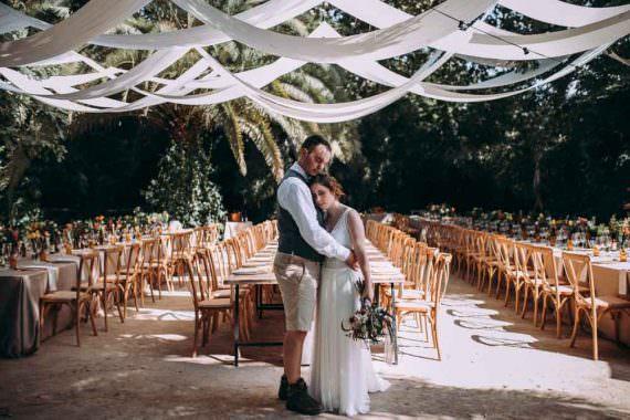 Reception Decor Long Wooden Tables Fabric Drapes Ceiling Botanical Gardens Outdoor Mountain Wedding Spain Lorena Erre