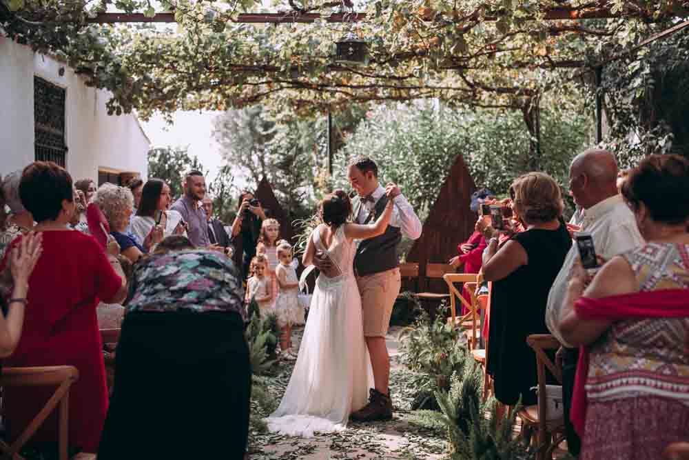 Ceremony Aisle Backdrop Decor Greenery Foliage Ferns Triangle Wooden Outdoor Garden Mountain Wedding Spain Lorena Erre
