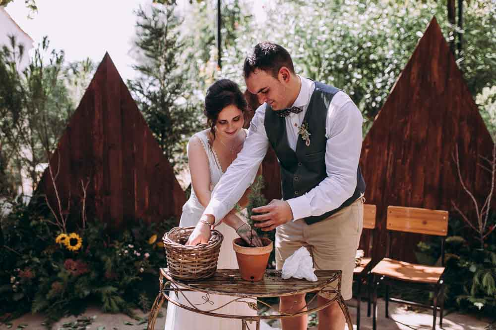 Ceremony Tree Planting Mountain Wedding Spain Lorena Erre