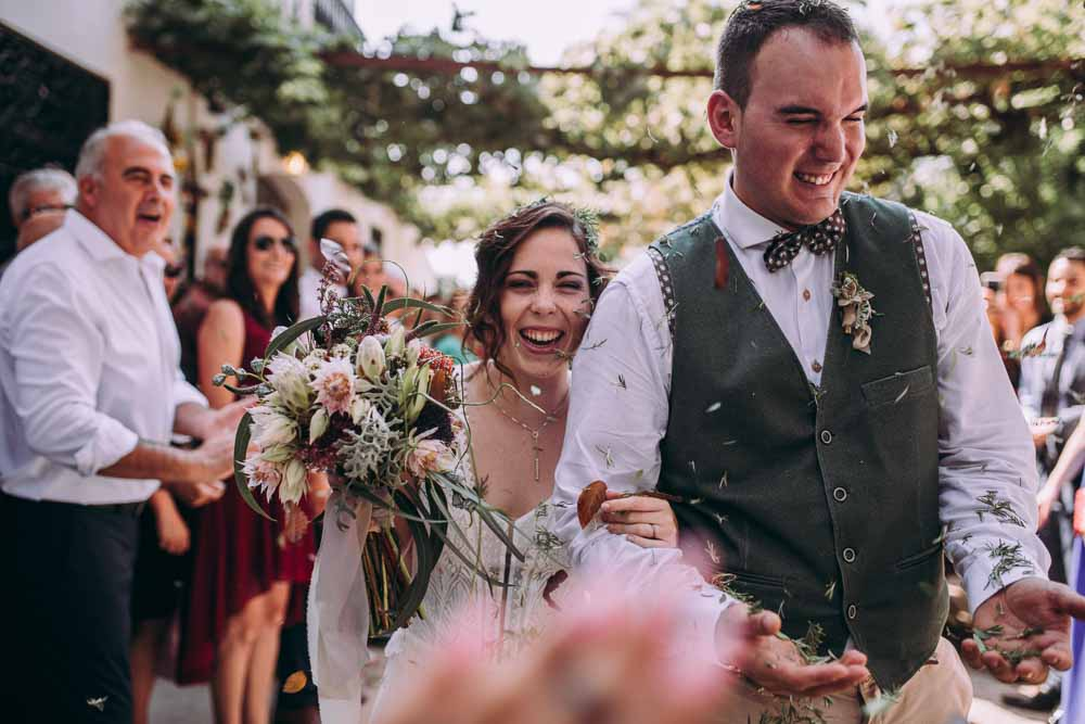 Leaf Confetti Mountain Wedding Spain Lorena Erre