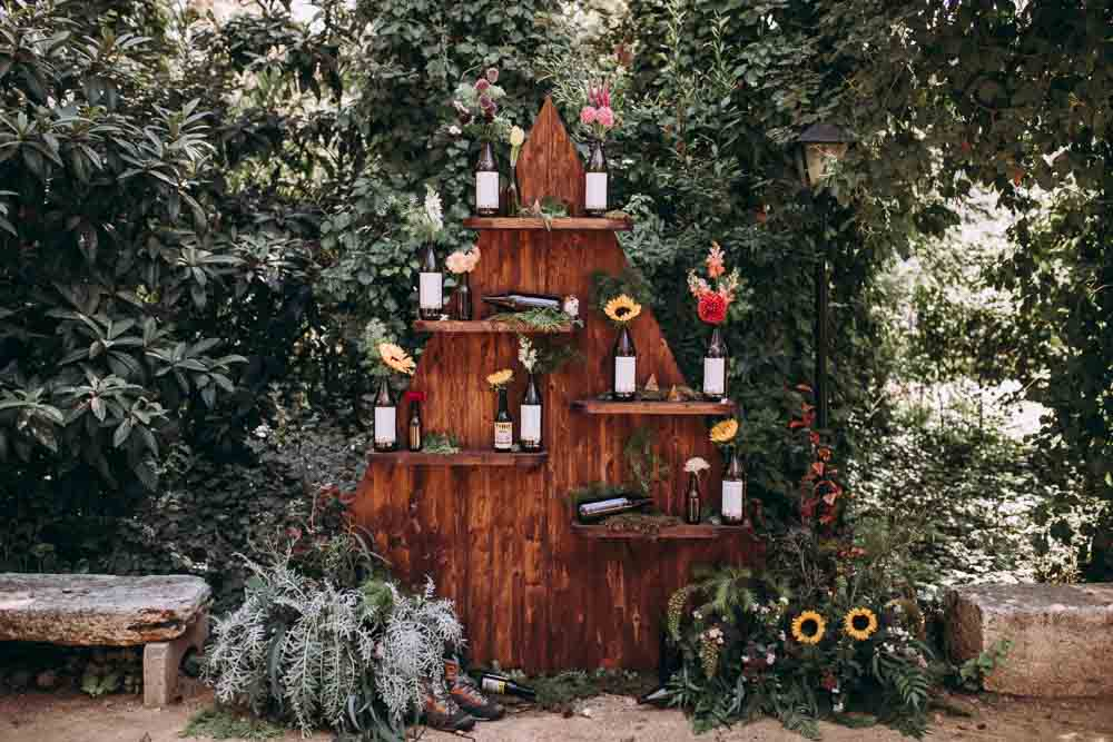 Table Chart Seating Plan Decor Flowers Beer Bottles Wooden Triangle Mountain Wedding Spain Lorena Erre