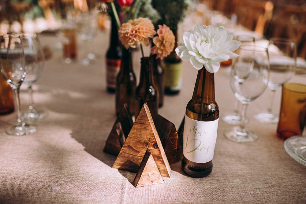 Tablescape Table Decor Long Flowers Beer Bottles Wooden Triangles Mountain Wedding Spain Lorena Erre