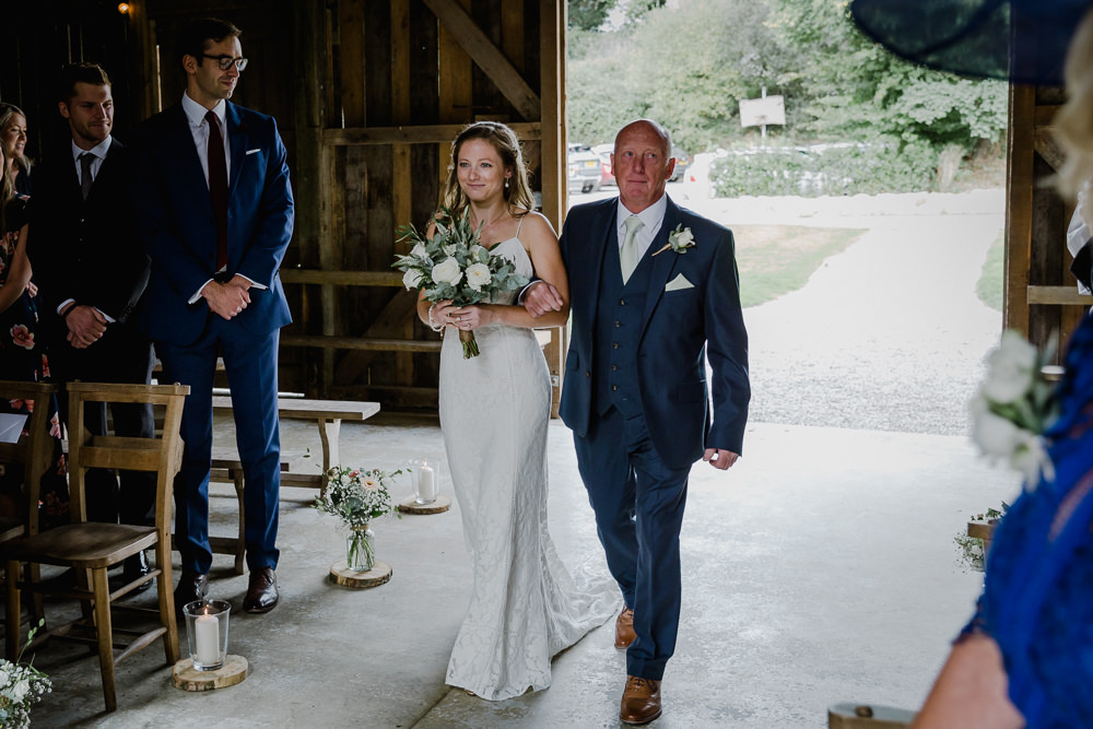Bride Bridal Sleeveless Strappy Dress Gown Blue Tweed Wool Three Piece Suit Eucalyptus Greenery Bouquet Nancarrow Farm Wedding Alexa Poppe Wedding Photography
