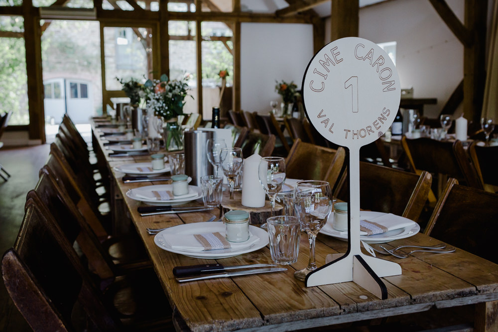 Tablescape Rustic Wooden Trestle Piste Marker Table Number Nancarrow Farm Wedding Alexa Poppe Wedding Photography