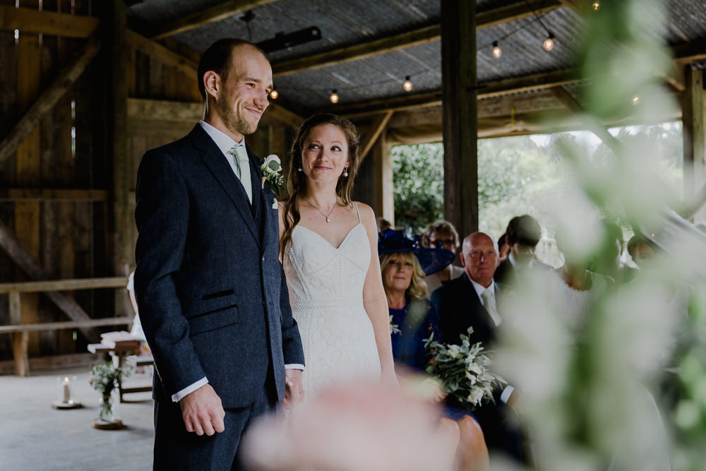 Bride Bridal Sleeveless Strappy Dress Gown Blue Tweed Wool Three Piece Suit Groom Nancarrow Farm Wedding Alexa Poppe Wedding Photography