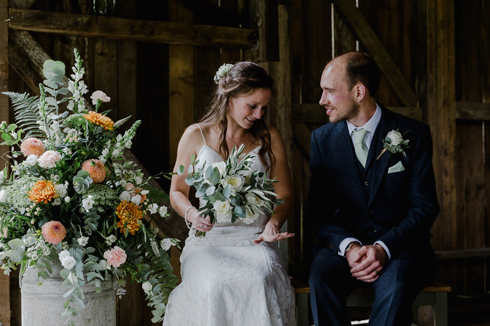 Bride Bridal Sleeveless Strappy Dress Gown Blue Tweed Wool Three Piece Suit Groom Eucalyptus Greenery Bouquet Milk Churn Flower Arrangement Floral Nancarrow Farm Wedding Alexa Poppe Wedding Photography