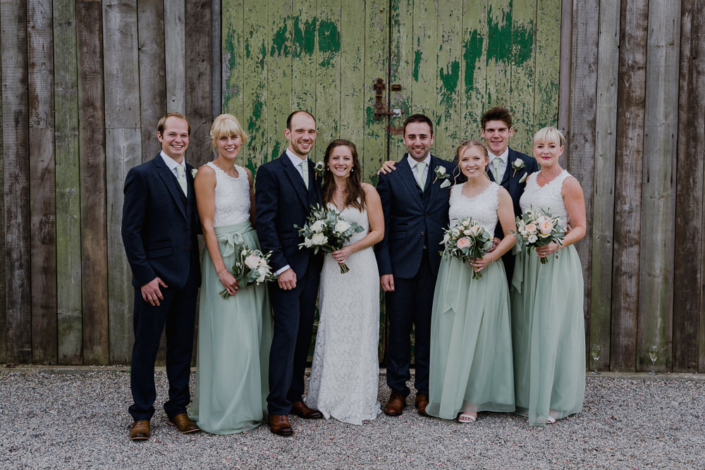 Bride Bridal Sleeveless Strappy Dress Gown Blue Tweed Wool Three Piece Suit Groom Eucalyptus Greenery Bouquet Sage Bridesmaid Separates Nancarrow Farm Wedding Alexa Poppe Wedding Photography