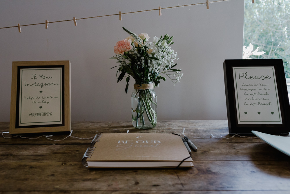 Guest Book Instagram Hashtag Jam Jar Flowers Floral Nancarrow Farm Wedding Alexa Poppe Wedding Photography