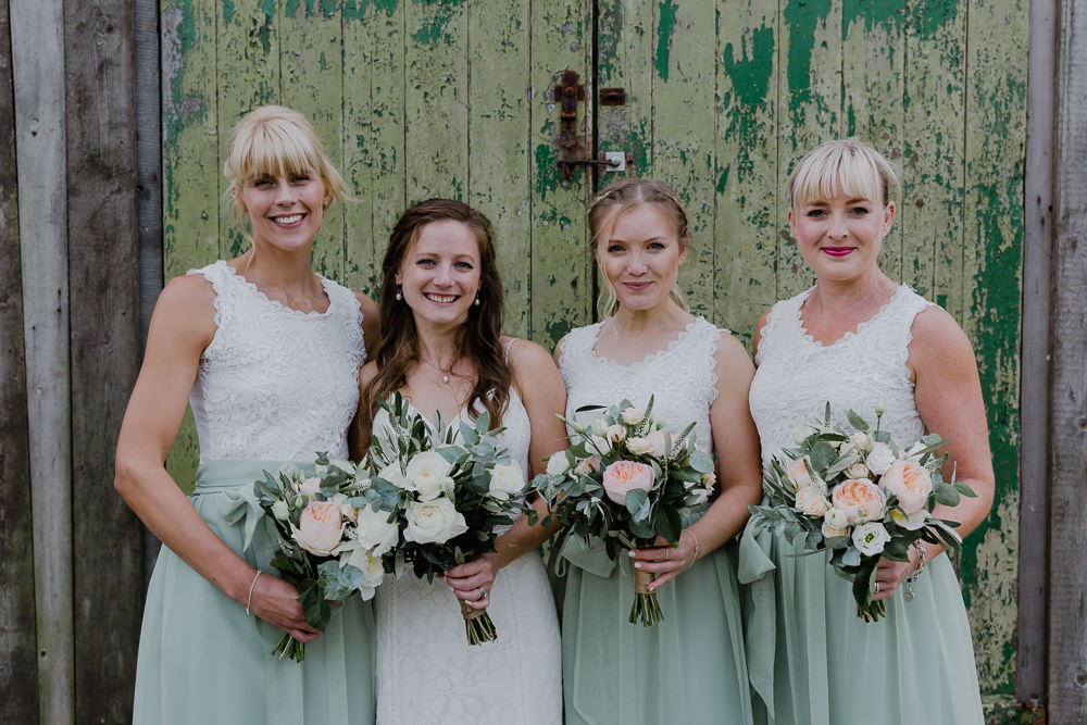 Bride Bridal Sleeveless Strappy Dress Gown Bridesmaid Separates Sage Eucalyptus Greenery Bouquet Nancarrow Farm Wedding Alexa Poppe Wedding Photography