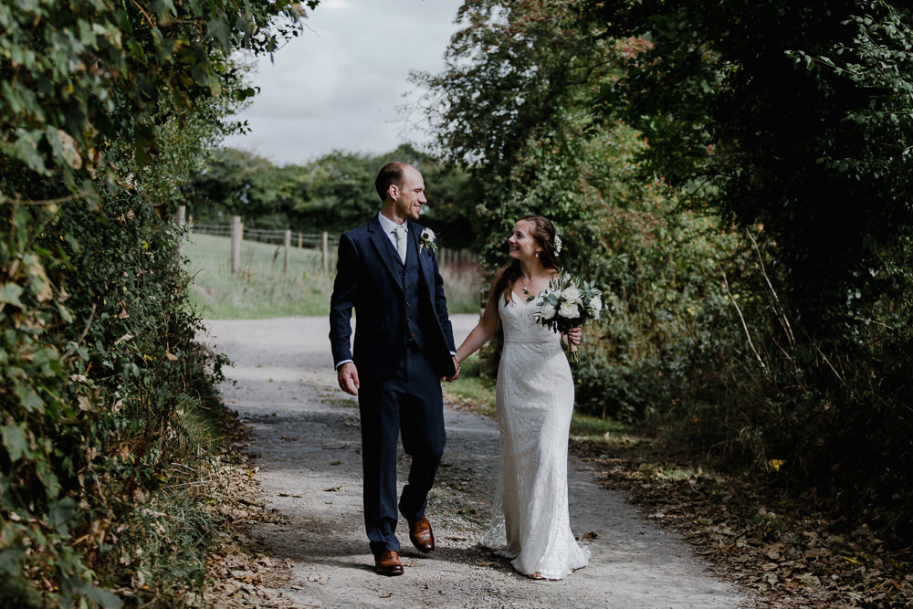 Bride Bridal Sleeveless Strappy Dress Gown Blue Tweed Wool Three Piece Suit Groom Eucalyptus Greenery Bouquet Nancarrow Farm Wedding Alexa Poppe Wedding Photography