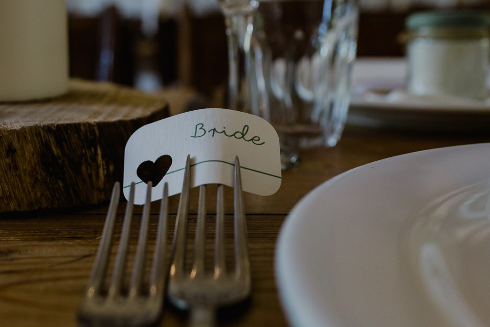 Place Card Fork Name Nancarrow Farm Wedding Alexa Poppe Wedding Photography