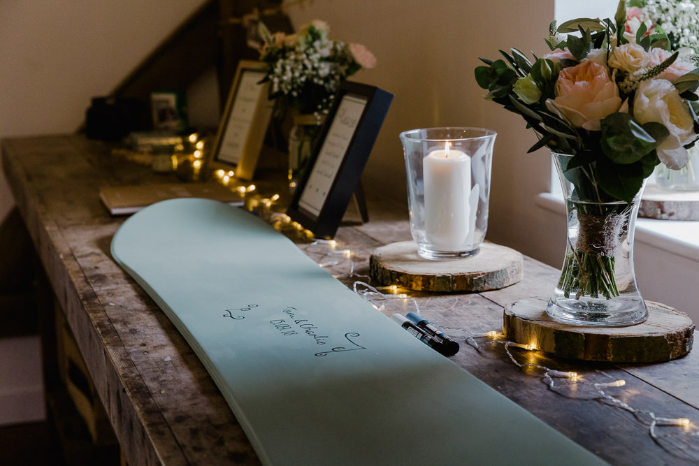 Snowboard Guest Book Wood Slice Log Floral Flowers Glass Vase Nancarrow Farm Wedding Alexa Poppe Wedding Photography