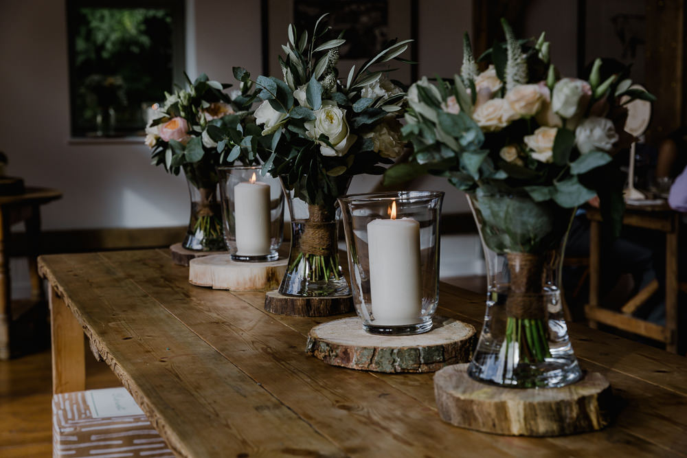 Wood Slice Log Greenery Bouquet Bridal Nancarrow Farm Wedding Alexa Poppe Wedding Photography