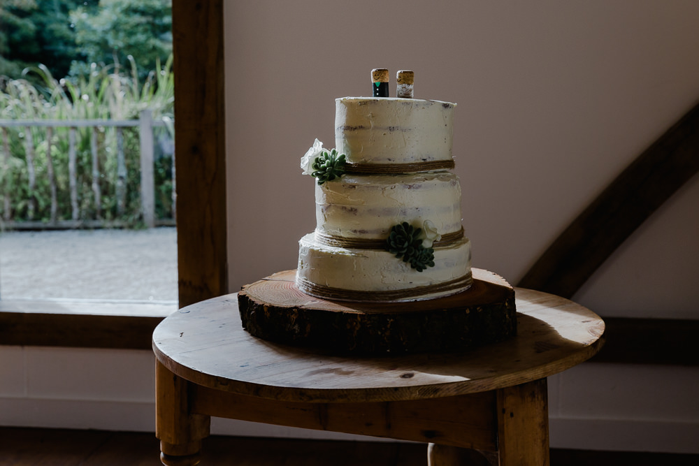 Semi Naked Cake Wood Slice Log Topper Nancarrow Farm Wedding Alexa Poppe Wedding Photography