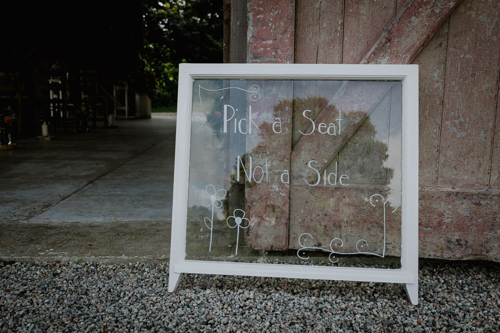 Glass Window Sign Pick A Seat Not a Side Nancarrow Farm Wedding Alexa Poppe Wedding Photography