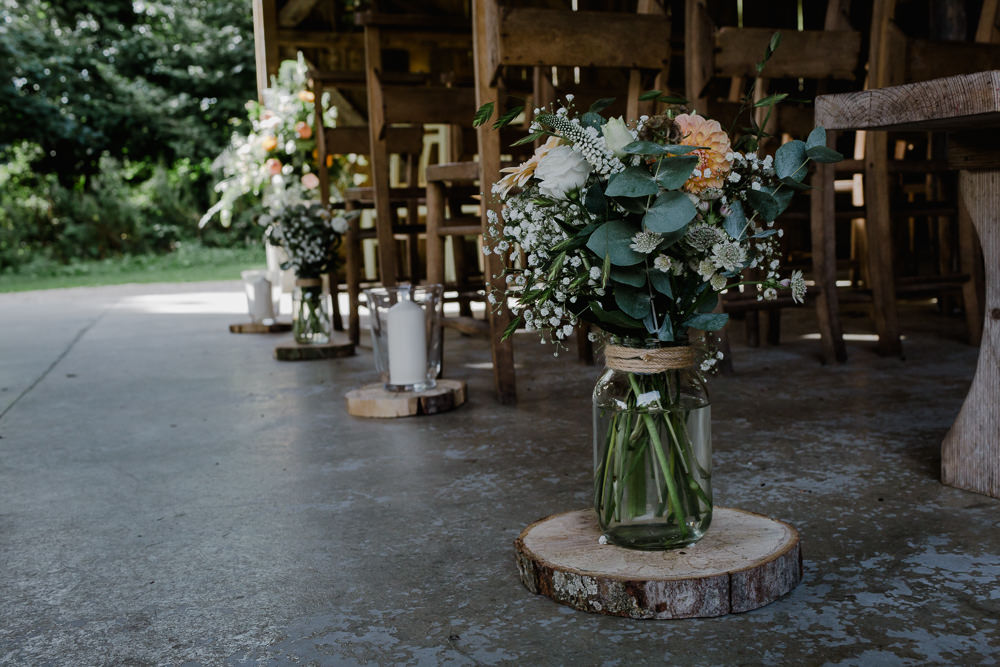 Wood Slice Log Jam Jar Twine Flowers Floral Greenery Gypsophila Nancarrow Farm Wedding Alexa Poppe Wedding Photography