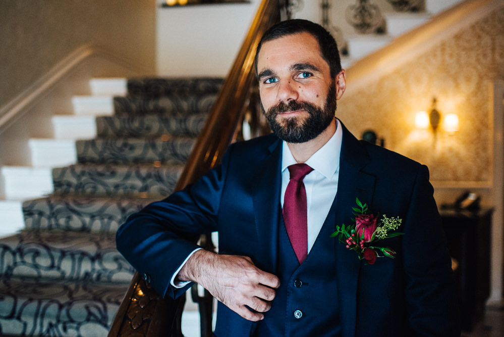 Groom Suit Blue Burgundy Tie Pembroke Lodge Wedding Mark O'Brien Photography