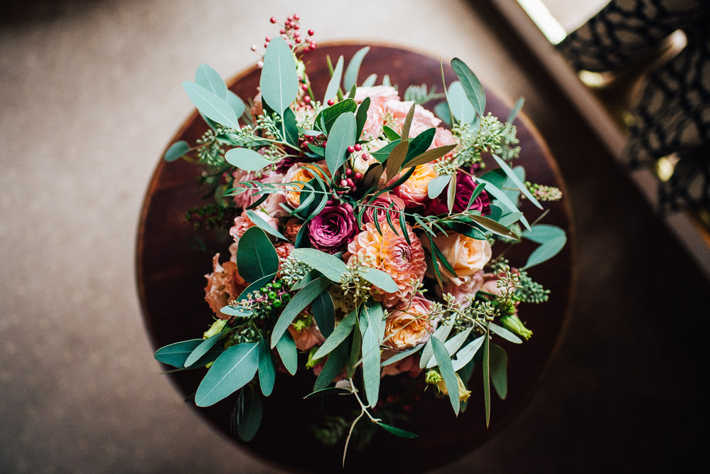 Bouquet Flowers Bride Bridal Orange Daliah Rose Greenery Foliage Pembroke Lodge Wedding Mark O'Brien Photography