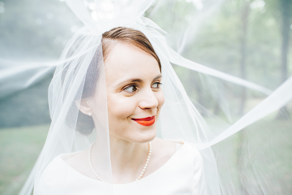 Bride Bridal Make Up Red Lipstick Pembroke Lodge Wedding Mark O'Brien Photography