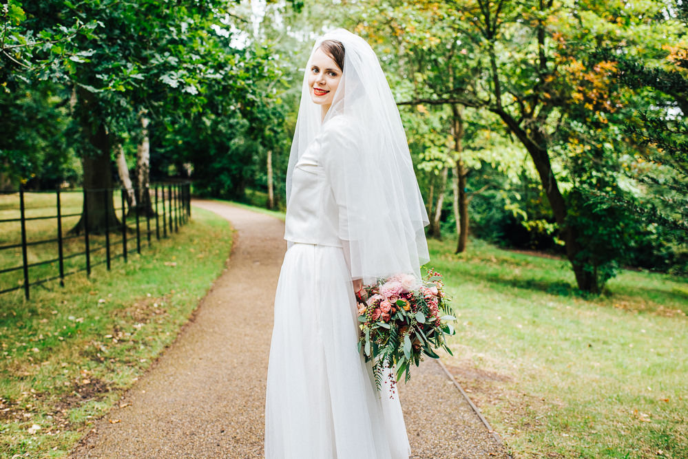 Dress Gown Bride Bridal Separates Skirt Top Tulle Satin Veil Pembroke Lodge Wedding Mark O'Brien Photography