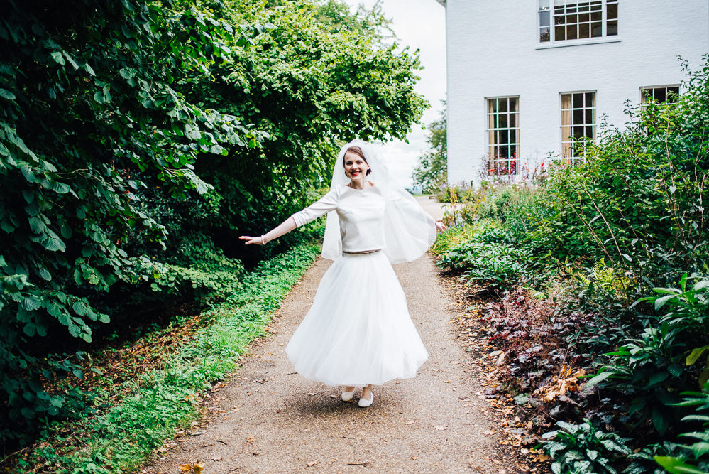 Dress Gown Bride Bridal Separates Skirt Top Tulle Satin Veil Short Tea Length Pembroke Lodge Wedding Mark O'Brien Photography