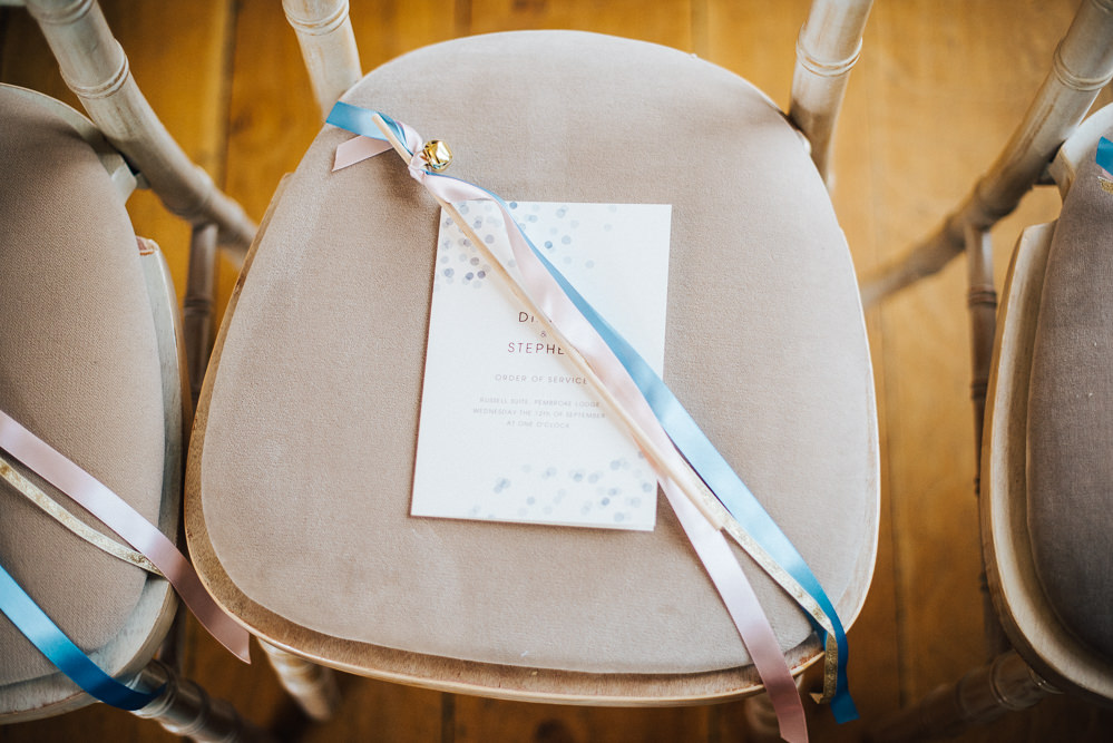 Stationery Ribbon Wand Pembroke Lodge Wedding Mark O'Brien Photography