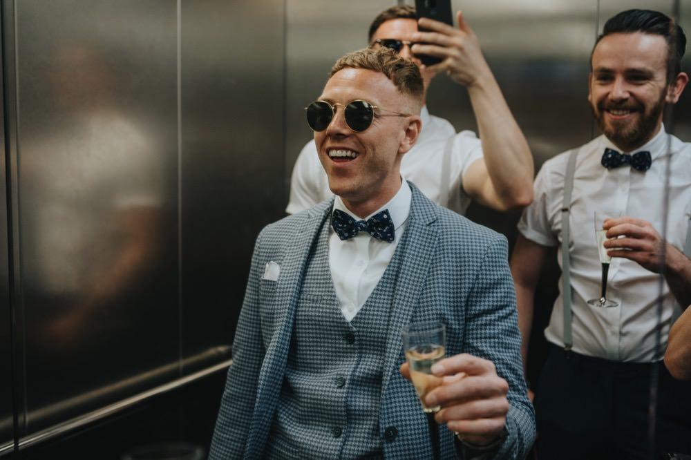 Groom Suit Blue Bow Tie Sunglasses Sefton Park Wedding Bloom Weddings