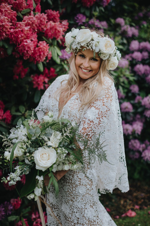 Bouquet Flowers Bride Bridal Greenery Foliage Rose Astilbe Stocks Flower Crown Sefton Park Wedding Bloom Weddings