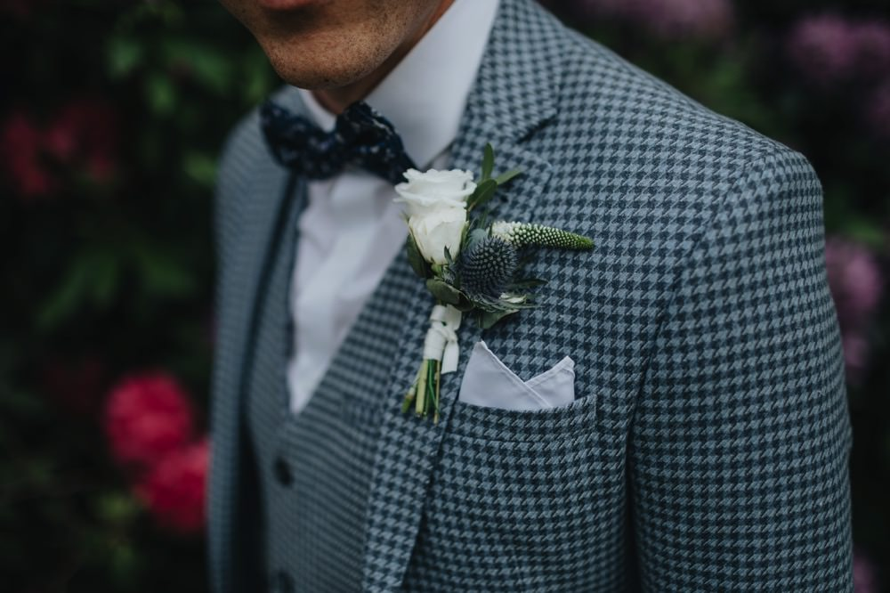 Groom Suit Blue Bow Tie Buttonhole Flowers Rose Thistle Park Wedding Bloom Weddings
