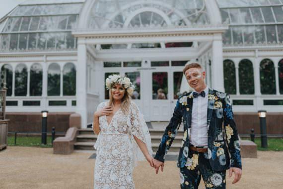 Groom Suit Floral Print Bow Tie Sefton Park Wedding Bloom Weddings