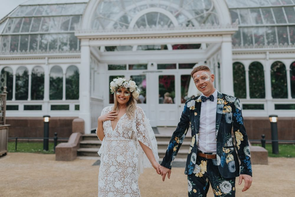 c235bcfd9 Palm House Sefton Park Wedding Botanical Boho Festival Glitter Party ...