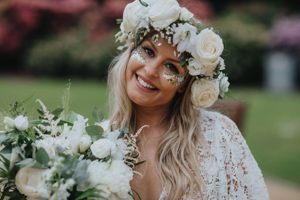 Bride Bridal Flower Crown Rose Glitter Make Up Sefton Park Wedding Bloom Weddings