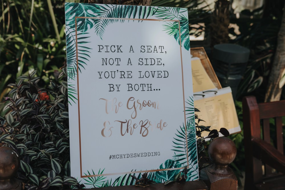 Palm Leaf Botanical Tropical Ceremony Sign Sefton Park Wedding Bloom Weddings