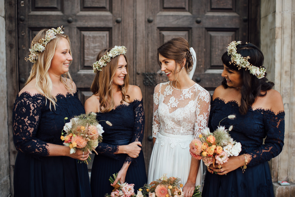 Bridesmaids Off Shoulder Bardot Navy Blue Lace Dresses Dress Flower Crown St Paul's Cathedral Wedding The Shannons Photography