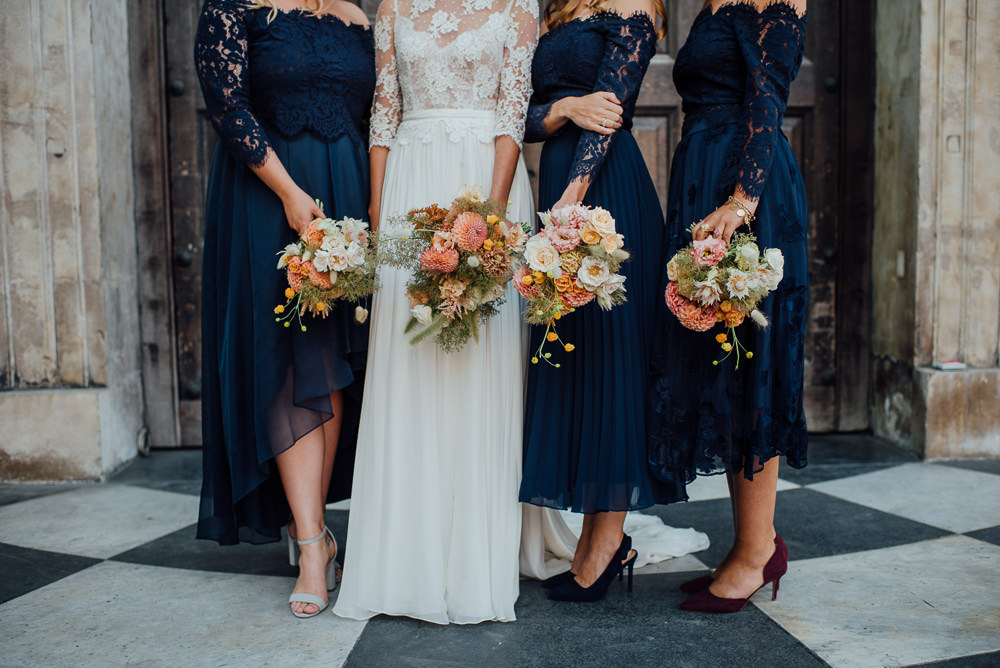 Bridesmaids Off Shoulder Bardot Navy Blue Lace Dresses Dress Bouquets St Paul's Cathedral Wedding The Shannons Photography
