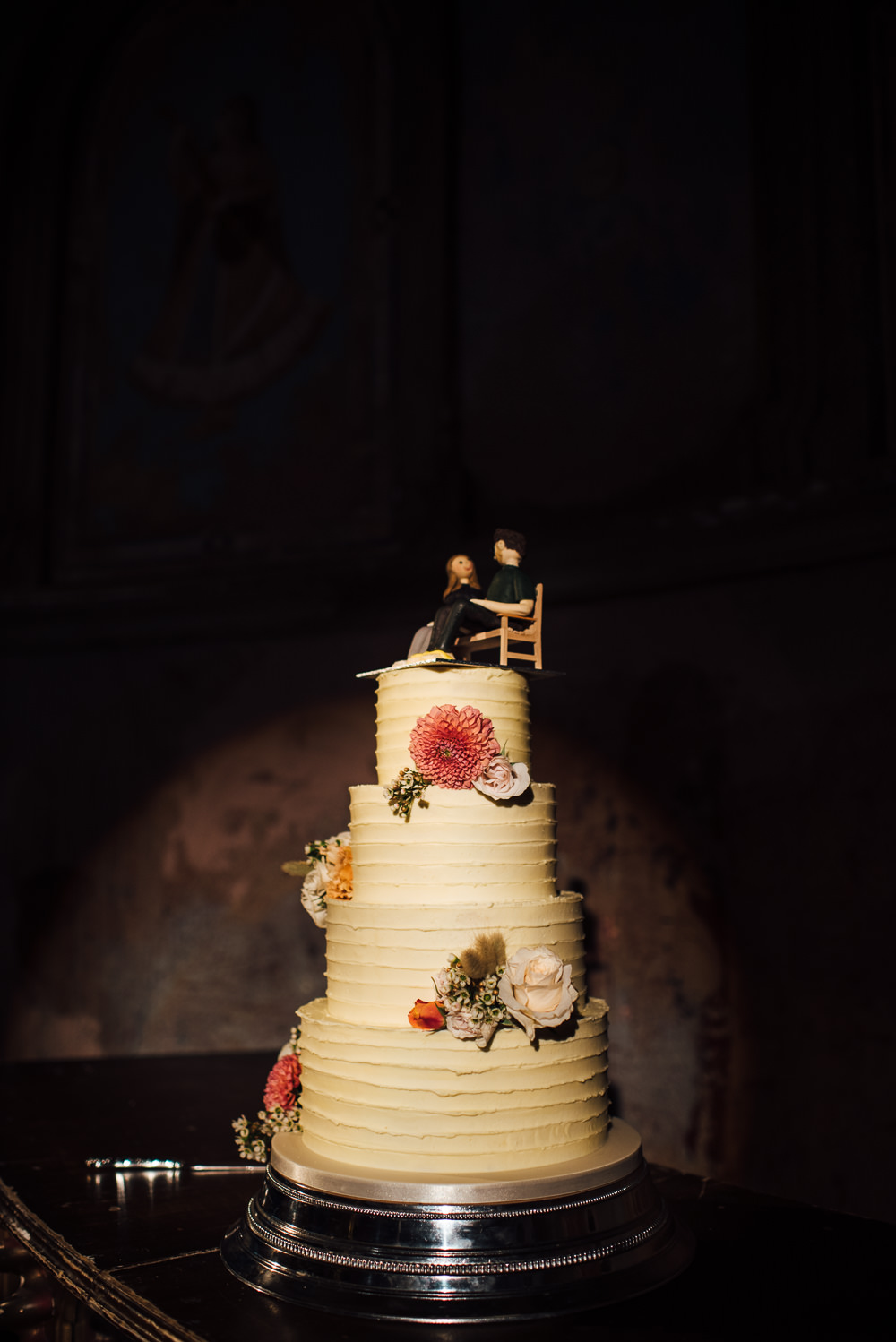 Tall Buttercream Cake Flowers Floral St Paul's Cathedral Wedding The Shannons Photography