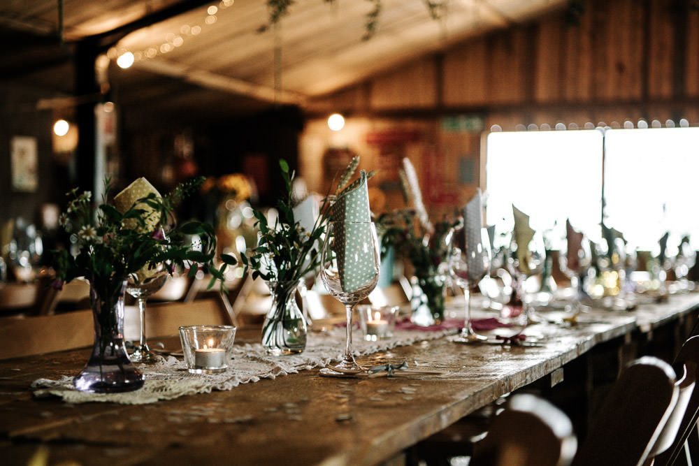 Table Setting Rustic Foliage Stanford Farm Wedding Andy Griffiths Photography