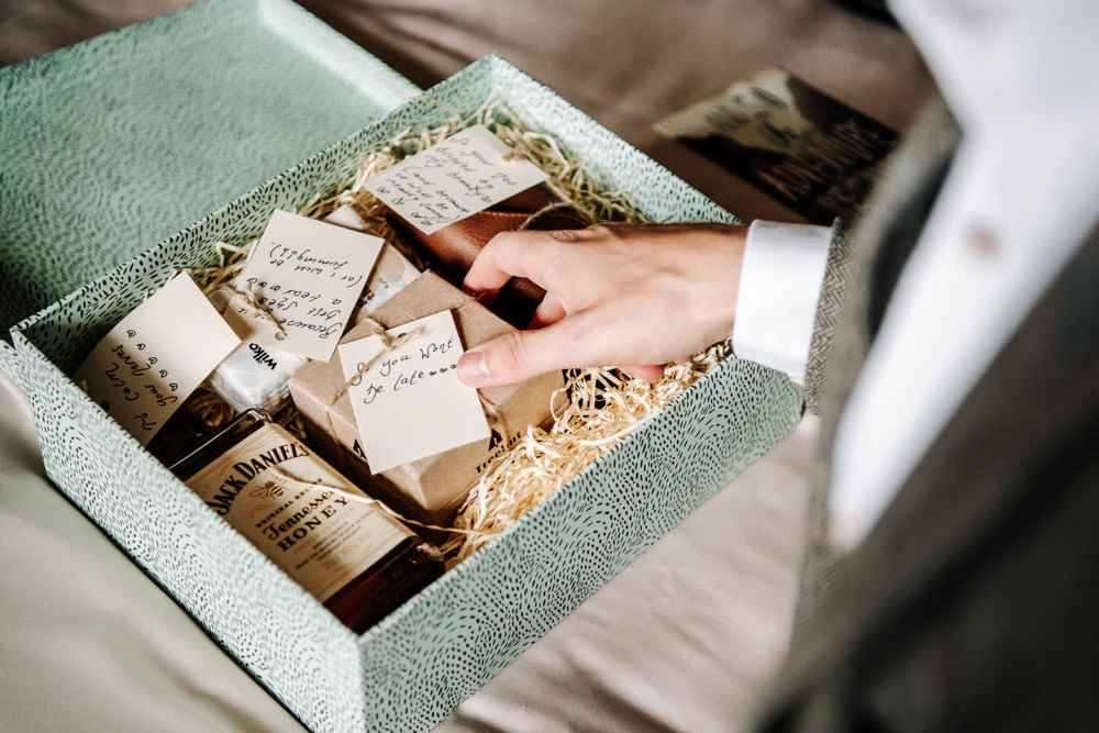Gift Box Groom Morning Stanford Farm Wedding Andy Griffiths Photography