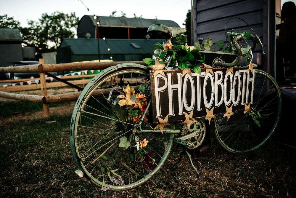 Photo Booth Sign Bike Ivy Stanford Farm Wedding Andy Griffiths Photography