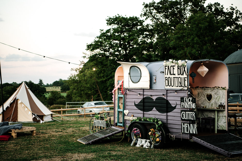 Horse Box Photo Booth Face Painting Glitter Stanford Farm Wedding Andy Griffiths Photography