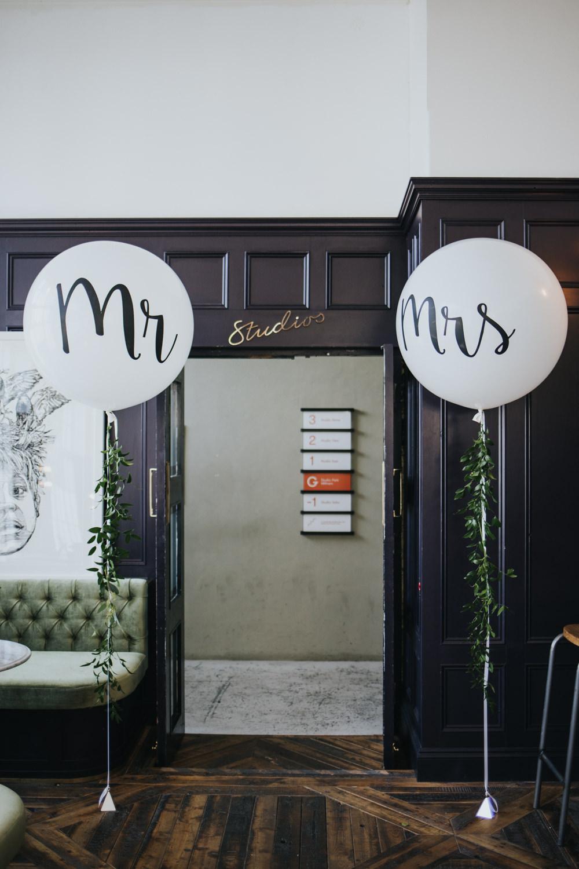 Giant Helium Balloons Mr Mrs Wimborne House Wedding Eva Photography