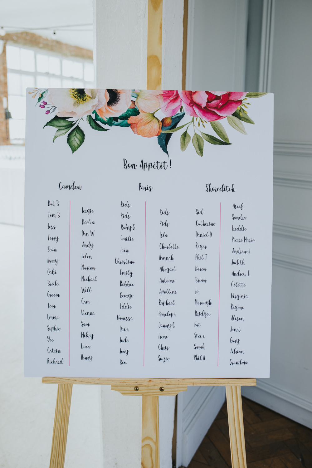 Floral Sign Signage Seating Plan Table Chart Calligraphy Easel Wimborne House Wedding Eva Photography