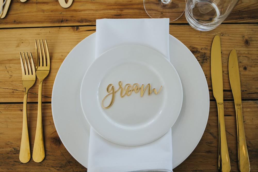 Gold Laser Cut Place Name Wimborne House Wedding Eva Photography