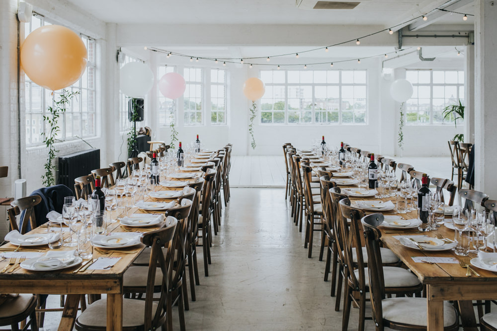 Long Wooden Rustic Table Chairs Wimborne House Wedding Eva Photography